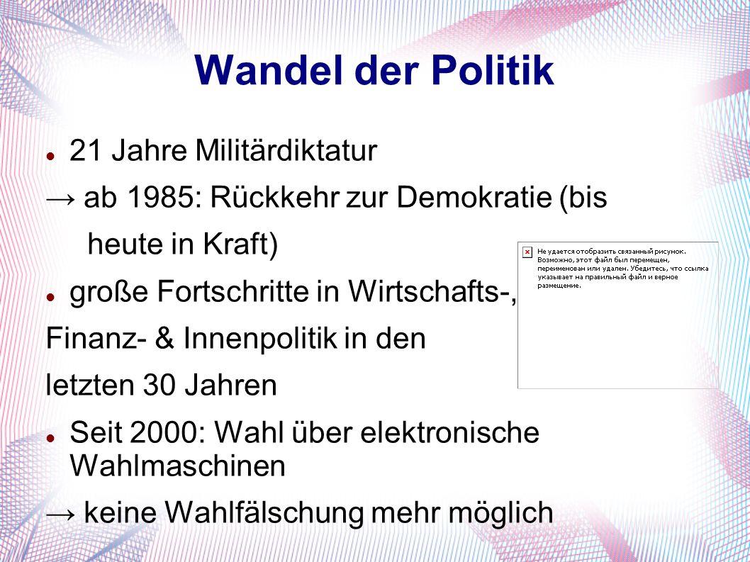 Wandel der Politik 21 Jahre Militärdiktatur → ab 1985: Rückkehr zur Demokratie (bis heute in Kraft) große Fortschritte in Wirtschafts-, Finanz- & Inne