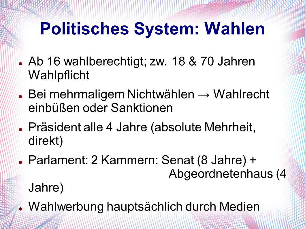 Politisches System: Wahlen Ab 16 wahlberechtigt; zw. 18 & 70 Jahren Wahlpflicht Bei mehrmaligem Nichtwählen → Wahlrecht einbüßen oder Sanktionen Präsi
