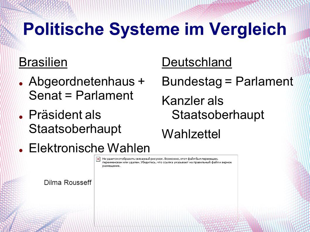 Politische Systeme im Vergleich Brasilien Abgeordnetenhaus + Senat = Parlament Präsident als Staatsoberhaupt Elektronische Wahlen Deutschland Bundestag = Parlament Kanzler als Staatsoberhaupt Wahlzettel Dilma Rousseff