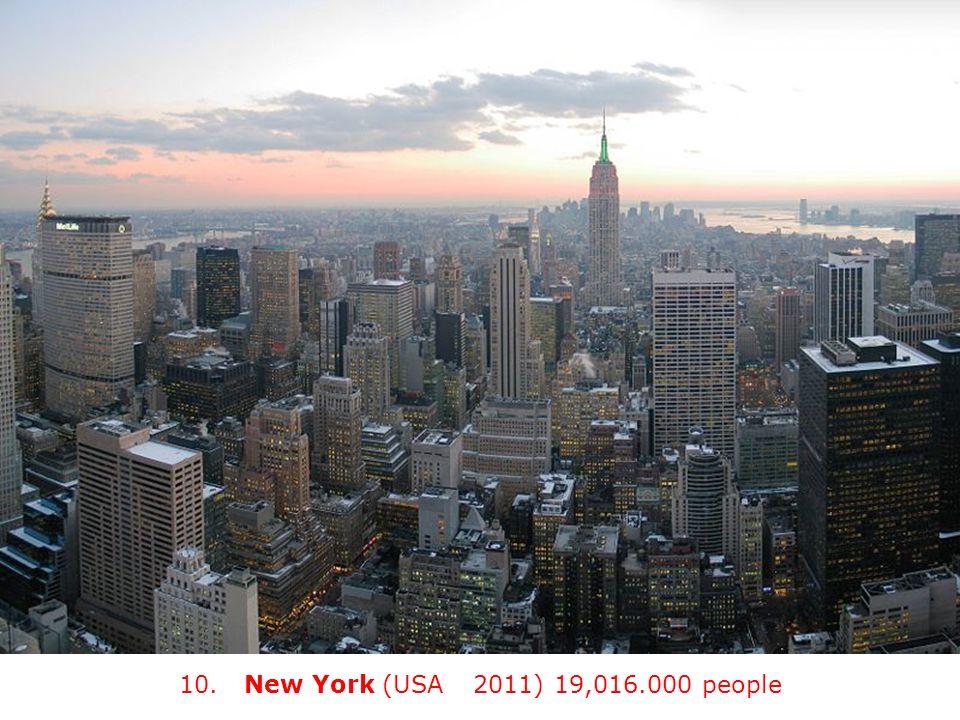 10. New York (USA) (2011) 19,016.000 people