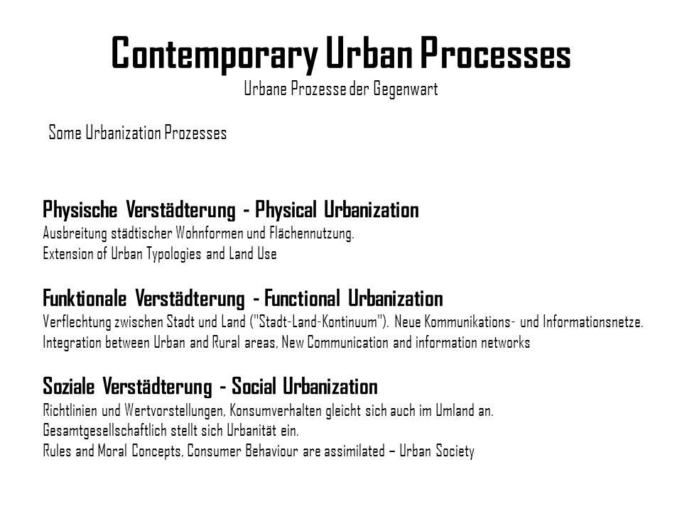 Contemporary Urban Processes Urbane Prozesse der Gegenwart Physische Verstädterung - Physical Urbanization Ausbreitung städtischer Wohnformen und Fläc