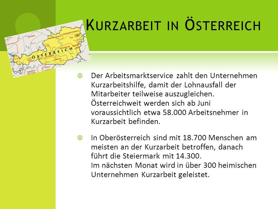 K URZARBEIT IN Ö STERREICH  Der Arbeitsmarktservice zahlt den Unternehmen Kurzarbeitshilfe, damit der Lohnausfall der Mitarbeiter teilweise auszugleichen.