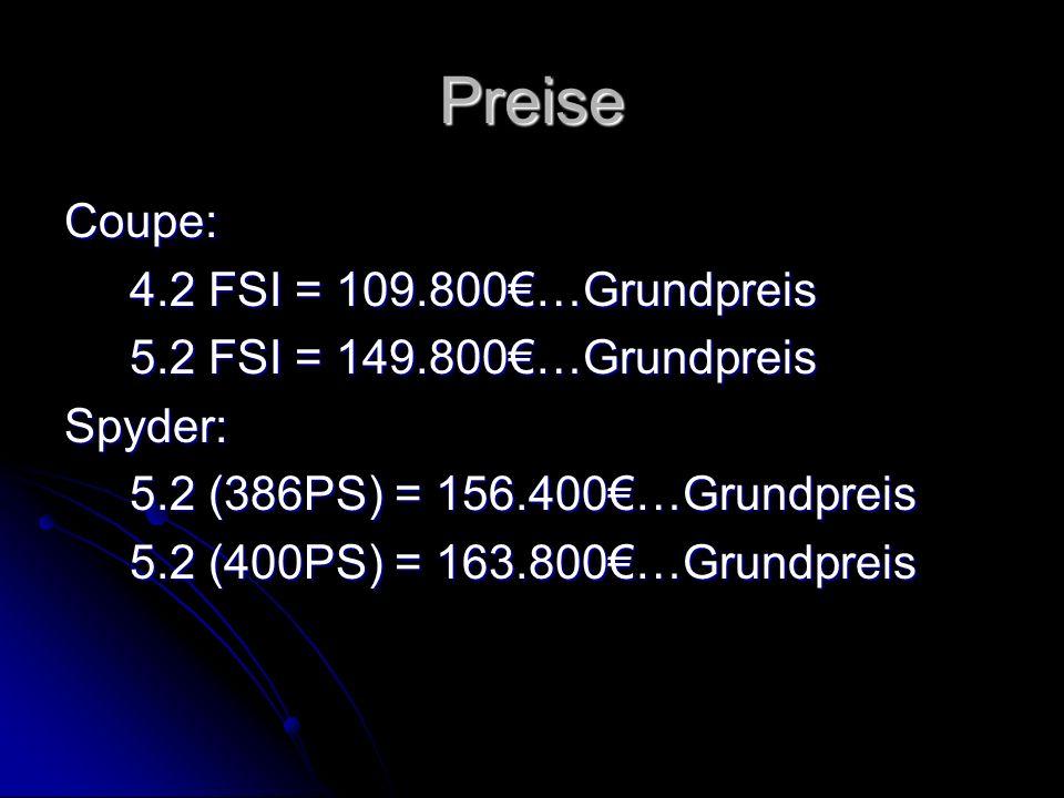 Preise Coupe: 4.2 FSI = 109.800€…Grundpreis 4.2 FSI = 109.800€…Grundpreis 5.2 FSI = 149.800€…Grundpreis 5.2 FSI = 149.800€…GrundpreisSpyder: 5.2 (386P