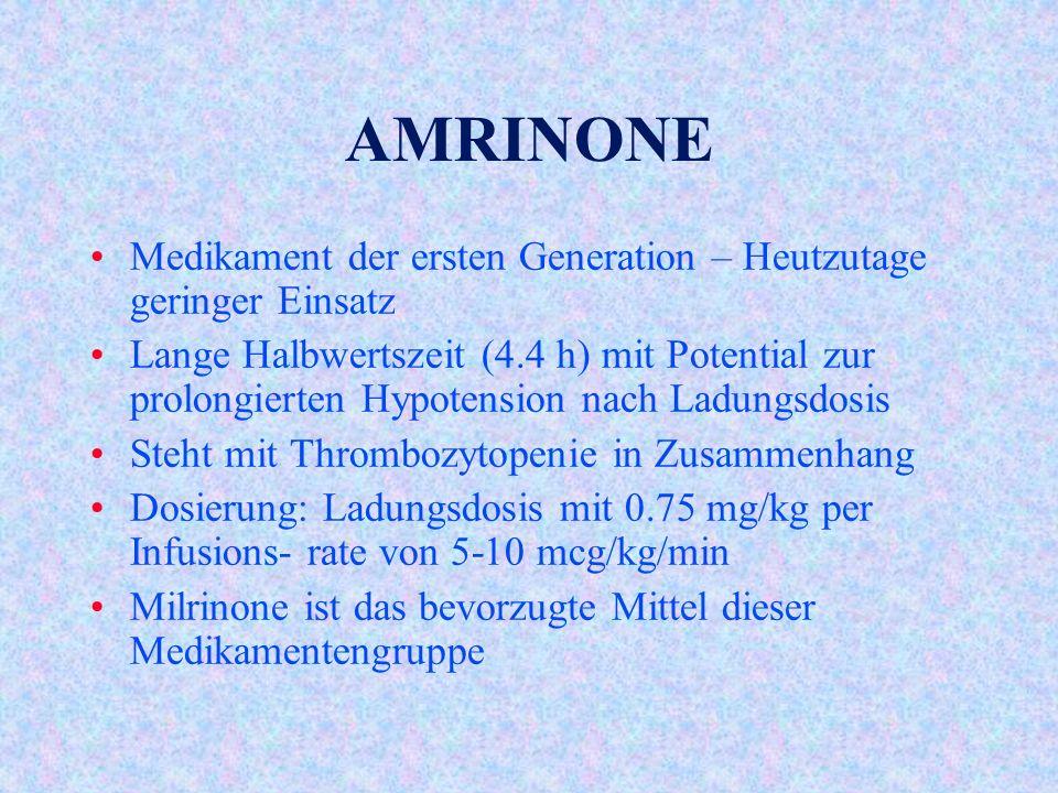 AMRINONE Medikament der ersten Generation – Heutzutage geringer Einsatz Lange Halbwertszeit (4.4 h) mit Potential zur prolongierten Hypotension nach Ladungsdosis Steht mit Thrombozytopenie in Zusammenhang Dosierung: Ladungsdosis mit 0.75 mg/kg per Infusions- rate von 5-10 mcg/kg/min Milrinone ist das bevorzugte Mittel dieser Medikamentengruppe