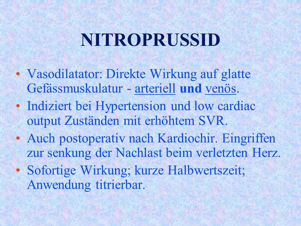 NITROPRUSSID Vasodilatator: Direkte Wirkung auf glatte Gefässmuskulatur - arteriell und venös.