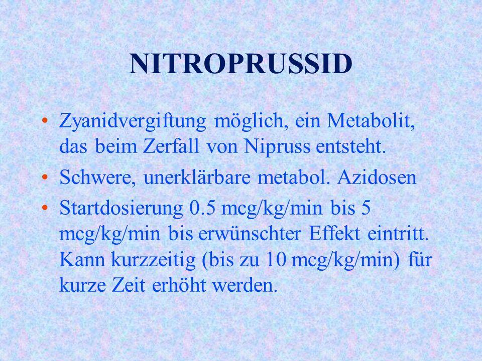 NITROPRUSSID Zyanidvergiftung möglich, ein Metabolit, das beim Zerfall von Nipruss entsteht.