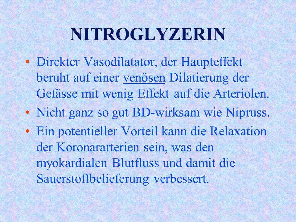 NITROGLYZERIN Direkter Vasodilatator, der Haupteffekt beruht auf einer venösen Dilatierung der Gefässe mit wenig Effekt auf die Arteriolen.