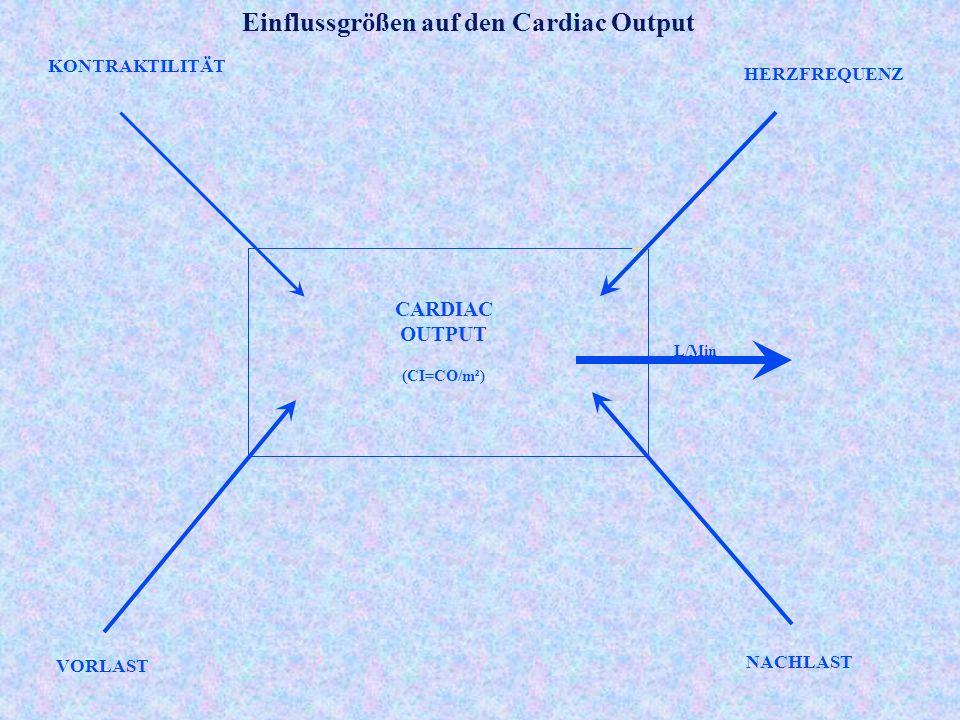 KONTRAKTILITÄT HERZFREQUENZ VORLAST NACHLAST L/Min CARDIAC OUTPUT (CI=CO/m²) Einflussgrößen auf den Cardiac Output