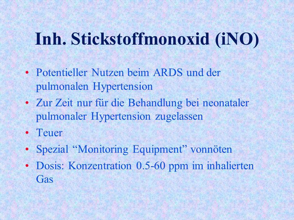 Inh. Stickstoffmonoxid (iNO) Potentieller Nutzen beim ARDS und der pulmonalen Hypertension Zur Zeit nur für die Behandlung bei neonataler pulmonaler H