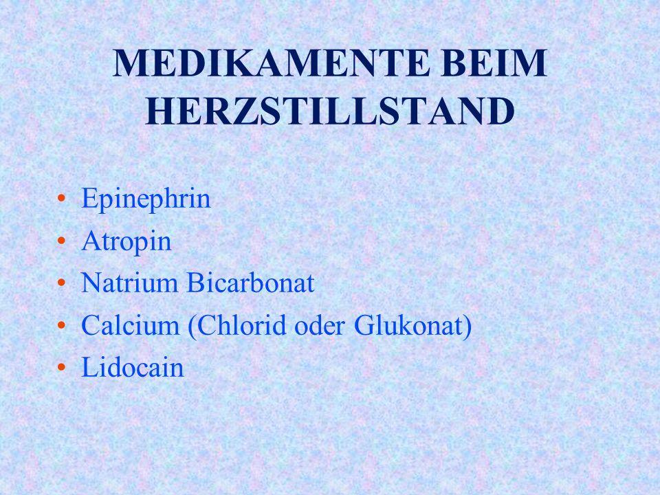 MEDIKAMENTE BEIM HERZSTILLSTAND Epinephrin Atropin Natrium Bicarbonat Calcium (Chlorid oder Glukonat) Lidocain