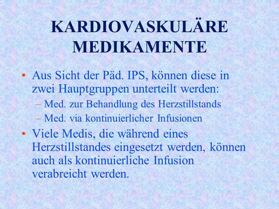 KARDIOVASKULÄRE MEDIKAMENTE Aus Sicht der Päd.