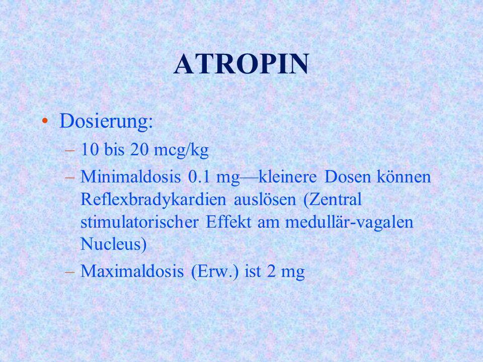 ATROPIN Dosierung: –10 bis 20 mcg/kg –Minimaldosis 0.1 mg—kleinere Dosen können Reflexbradykardien auslösen (Zentral stimulatorischer Effekt am medullär-vagalen Nucleus) –Maximaldosis (Erw.) ist 2 mg