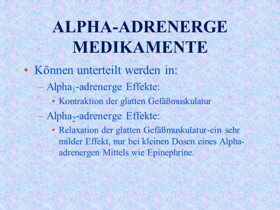 ALPHA-ADRENERGE MEDIKAMENTE Können unterteilt werden in: –Alpha 1 -adrenerge Effekte: Kontraktion der glatten Gefäßmuskulatur –Alpha 2 -adrenerge Effekte: Relaxation der glatten Gefäßmuskulatur-ein sehr milder Effekt, nur bei kleinen Dosen eines Alpha- adrenergen Mittels wie Epinephrine.