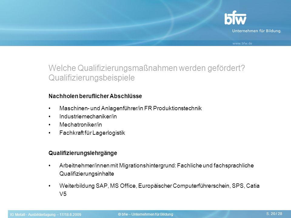 IG Metall - Ausbildertagung – 17/18.6.2009 S. 20 / 28 © bfw – Unternehmen für Bildung Nachholen beruflicher Abschlüsse Maschinen- und Anlagenführer/in