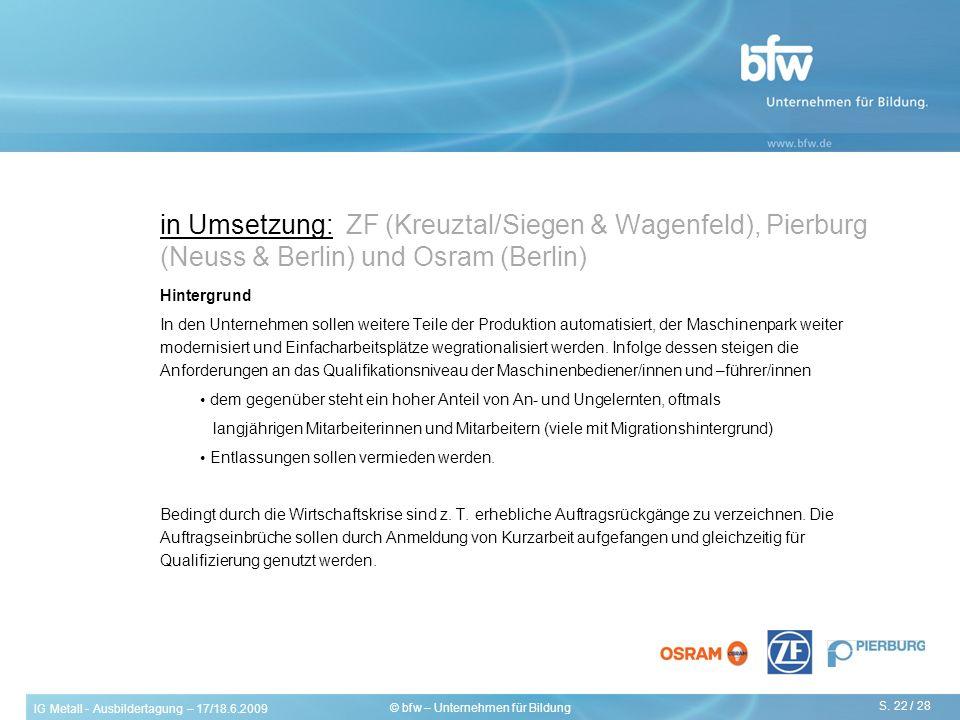 IG Metall - Ausbildertagung – 17/18.6.2009 S. 22 / 28 © bfw – Unternehmen für Bildung in Umsetzung: ZF (Kreuztal/Siegen & Wagenfeld), Pierburg (Neuss