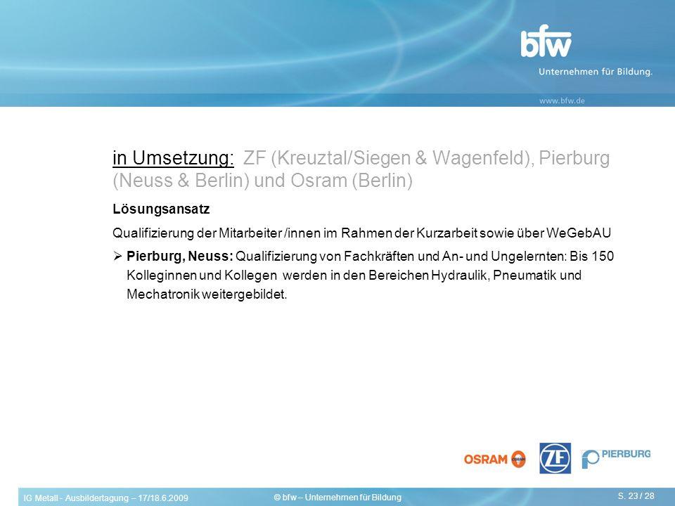 IG Metall - Ausbildertagung – 17/18.6.2009 S. 23 / 28 © bfw – Unternehmen für Bildung in Umsetzung: ZF (Kreuztal/Siegen & Wagenfeld), Pierburg (Neuss
