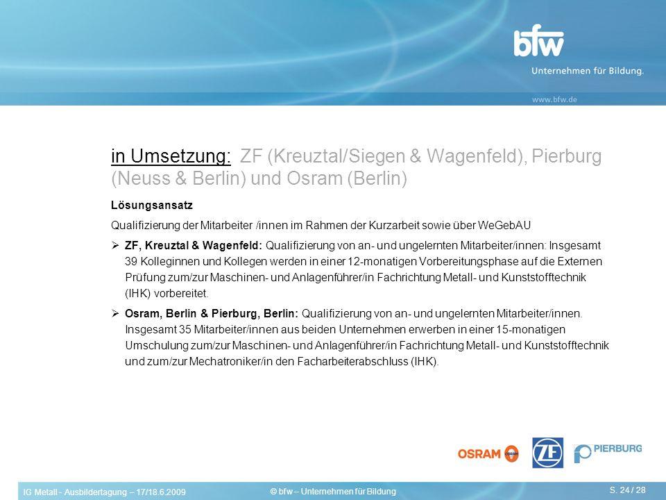 IG Metall - Ausbildertagung – 17/18.6.2009 S. 24 / 28 © bfw – Unternehmen für Bildung in Umsetzung: ZF (Kreuztal/Siegen & Wagenfeld), Pierburg (Neuss