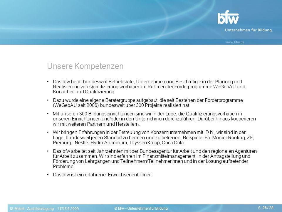 IG Metall - Ausbildertagung – 17/18.6.2009 S. 26 / 28 © bfw – Unternehmen für Bildung Unsere Kompetenzen Das bfw berät bundesweit Betriebsräte, Untern