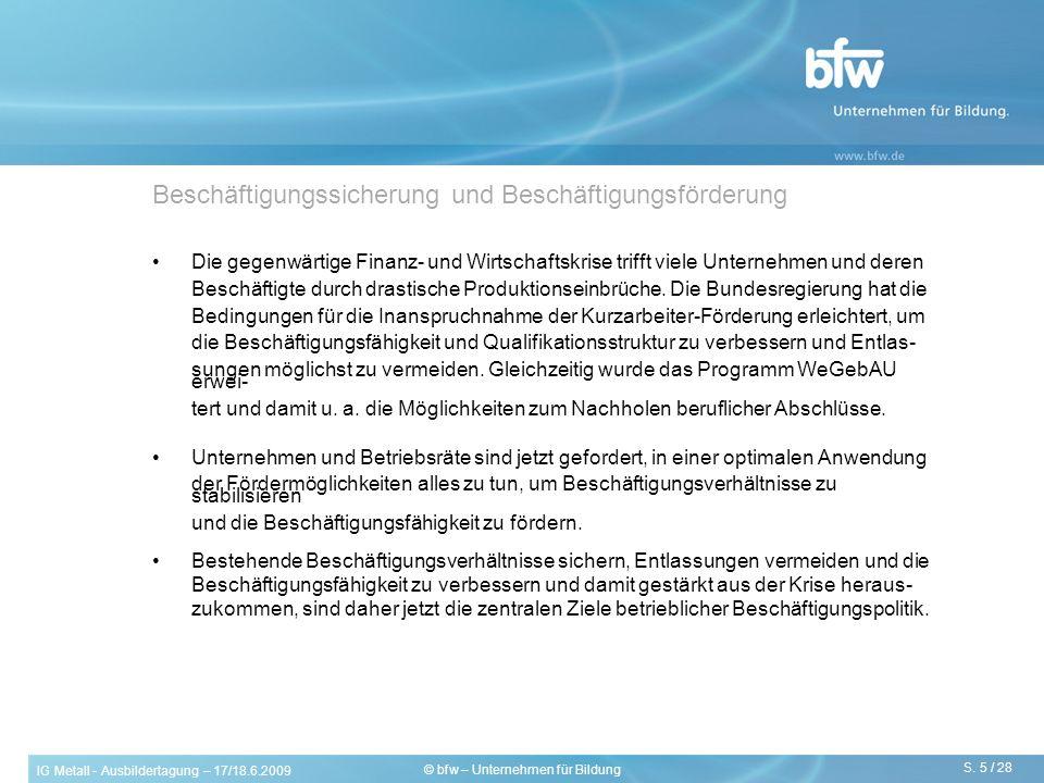 IG Metall - Ausbildertagung – 17/18.6.2009 S. 5 / 28 © bfw – Unternehmen für Bildung Beschäftigungssicherung und Beschäftigungsförderung Die gegenwärt