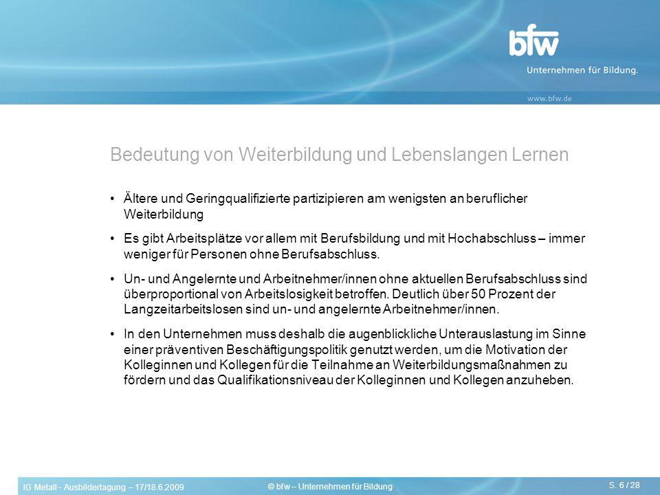 IG Metall - Ausbildertagung – 17/18.6.2009 S. 6 / 28 © bfw – Unternehmen für Bildung Bedeutung von Weiterbildung und Lebenslangen Lernen Ältere und Ge