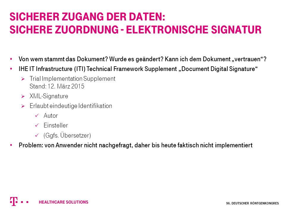 """Sicherer Zugang der Daten: Sichere Zuordnung - elektronische Signatur Von wem stammt das Dokument? Wurde es geändert? Kann ich dem Dokument """"vertrauen"""
