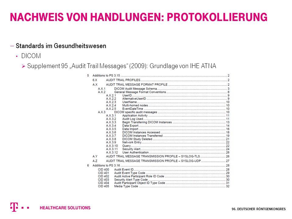 """Nachweis von Handlungen: Protokollierung  Standards im Gesundheitswesen DICOM  Supplement 95 """"Audit Trail Messages"""" (2009): Grundlage von IHE ATNA 9"""