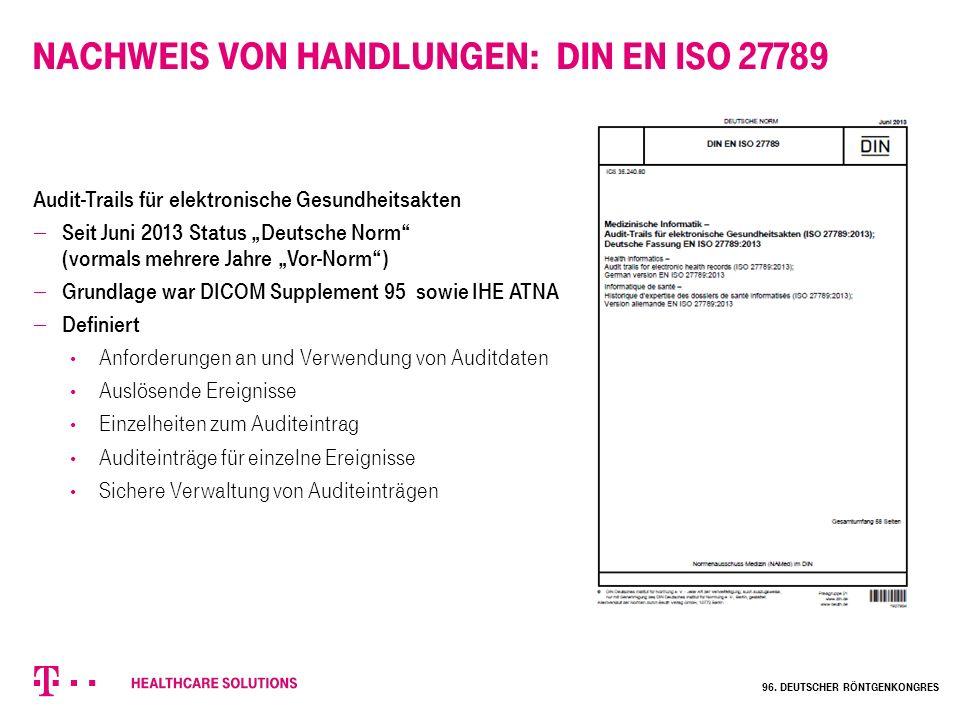 """Nachweis von Handlungen: DIN EN ISO 27789 Audit-Trails für elektronische Gesundheitsakten  Seit Juni 2013 Status """"Deutsche Norm"""" (vormals mehrere Jah"""