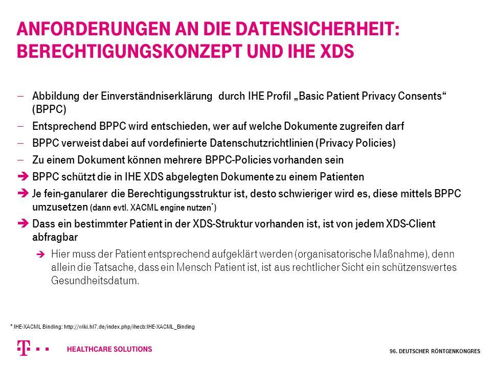 """Anforderungen an die Datensicherheit: Berechtigungskonzept und IHE XDS  Abbildung der Einverständniserklärung durch IHE Profil """"Basic Patient Privacy"""
