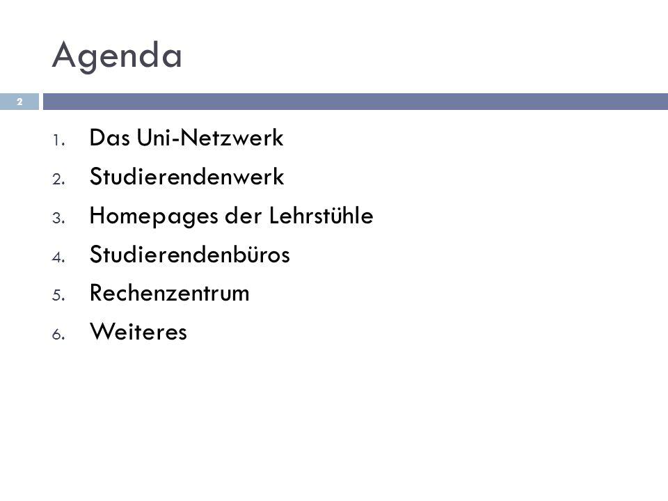 Agenda 1. Das Uni-Netzwerk 2. Studierendenwerk 3.