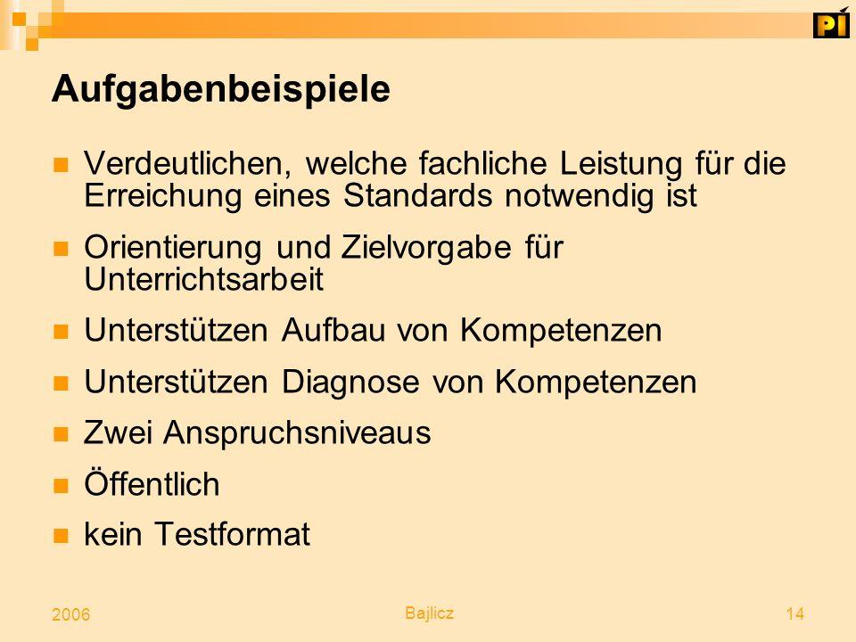 Bajlicz 14 2006 Aufgabenbeispiele Verdeutlichen, welche fachliche Leistung für die Erreichung eines Standards notwendig ist Orientierung und Zielvorga