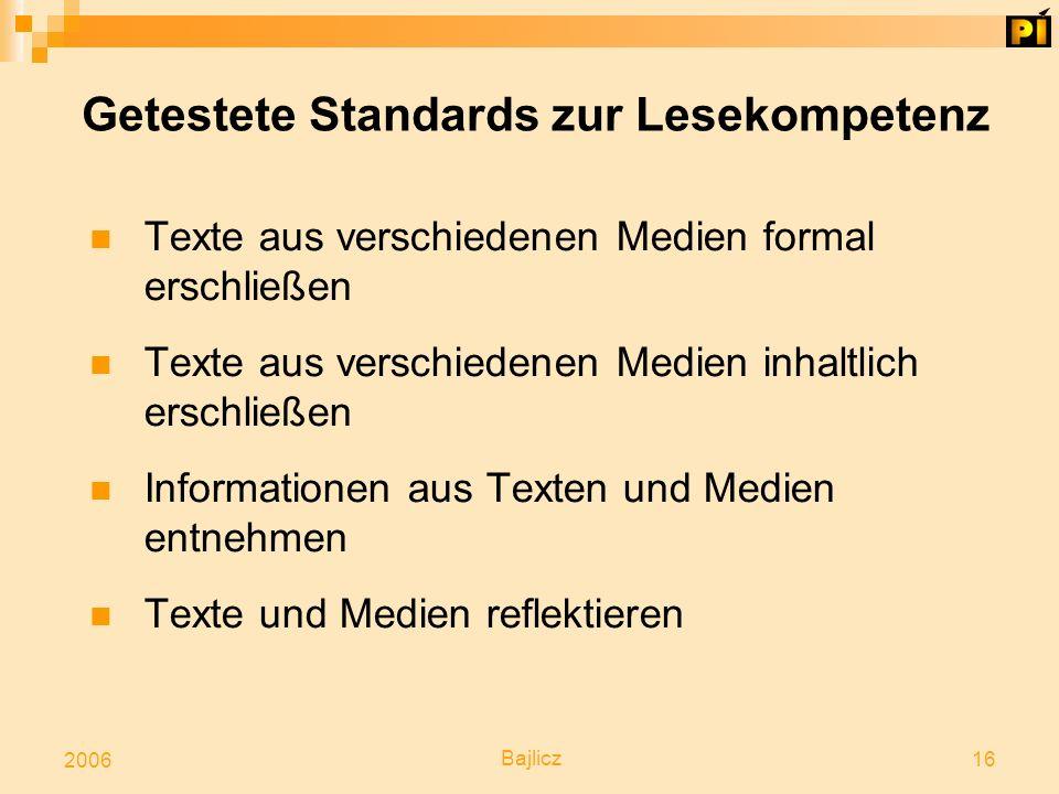 Bajlicz 16 2006 Getestete Standards zur Lesekompetenz Texte aus verschiedenen Medien formal erschließen Texte aus verschiedenen Medien inhaltlich ersc