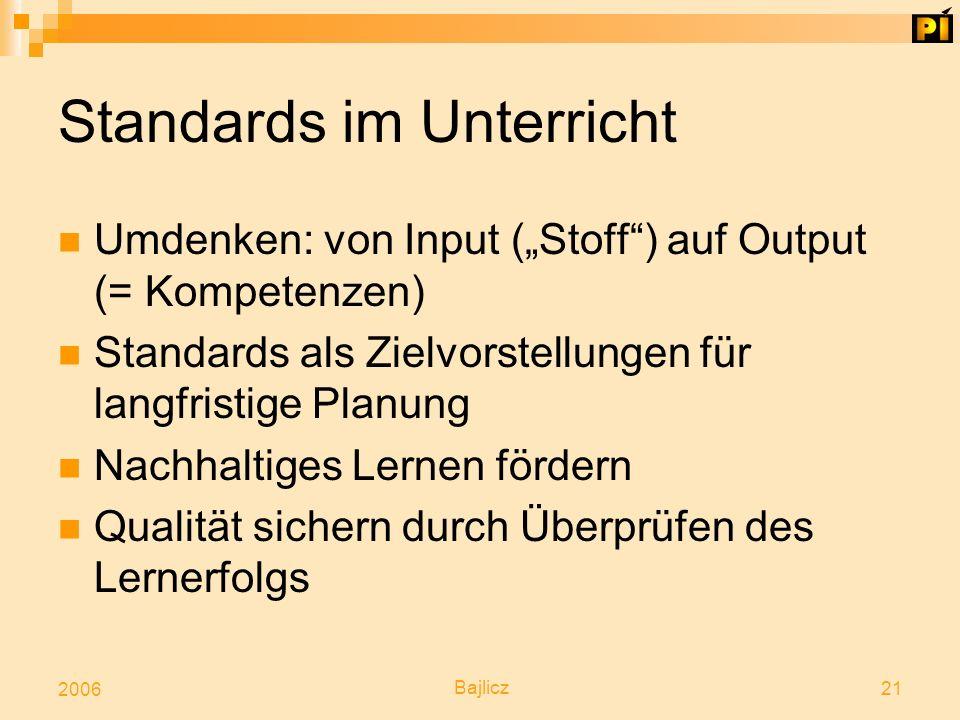 """Bajlicz 21 2006 Standards im Unterricht Umdenken: von Input (""""Stoff"""") auf Output (= Kompetenzen) Standards als Zielvorstellungen für langfristige Plan"""