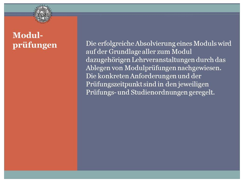 Modul- prüfungen Die erfolgreiche Absolvierung eines Moduls wird auf der Grundlage aller zum Modul dazugehörigen Lehrveranstaltungen durch das Ablegen