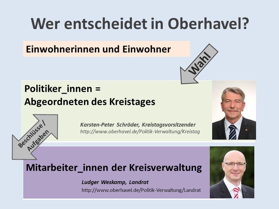 Wer entscheidet in Oberhavel? Politiker_innen = Abgeordneten des Kreistages Karsten-Peter Schröder, Kreistagsvorsitzender http://www.oberhavel.de/Poli