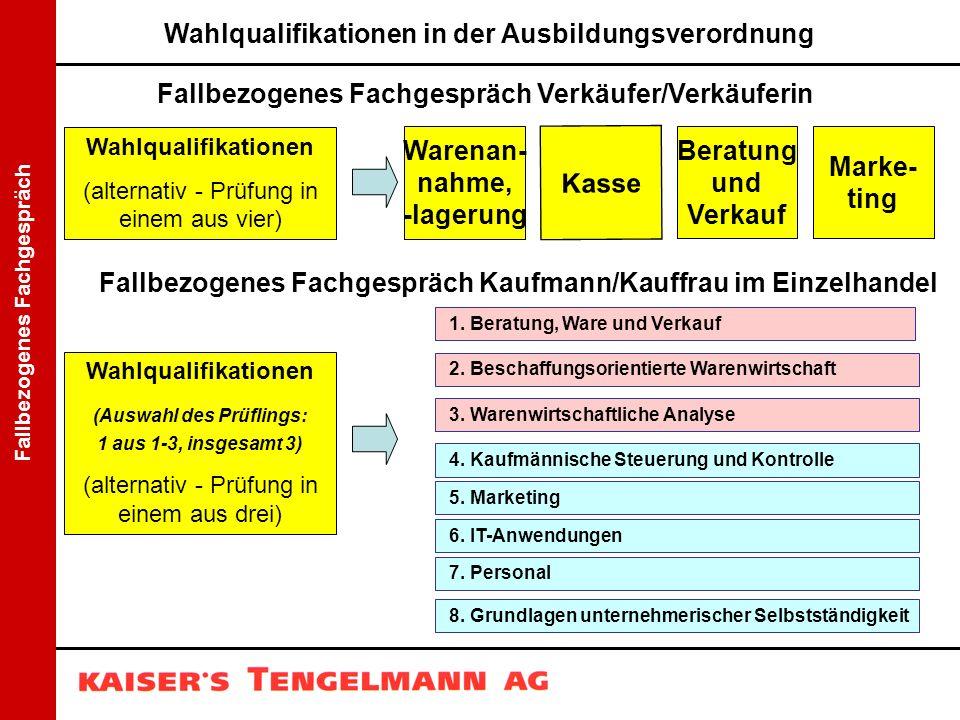 Fallbezogenes Fachgespräch Wahlqualifikationen (alternativ - Prüfung in einem aus vier) Warenan- nahme, -lagerung Kasse Beratung und Verkauf Marke- ti