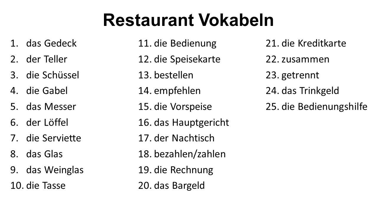 Restaurant Vokabeln 1.das Gedeck 2.der Teller 3.die Schüssel 4.die Gabel 5.das Messer 6.der Löffel 7.die Serviette 8.das Glas 9.das Weinglas 10.die Ta