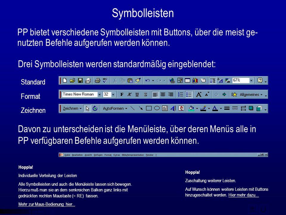 © qba fecit Symbolleisten PP bietet verschiedene Symbolleisten mit Buttons, über die meist ge- nutzten Befehle aufgerufen werden können. Drei Symbolle