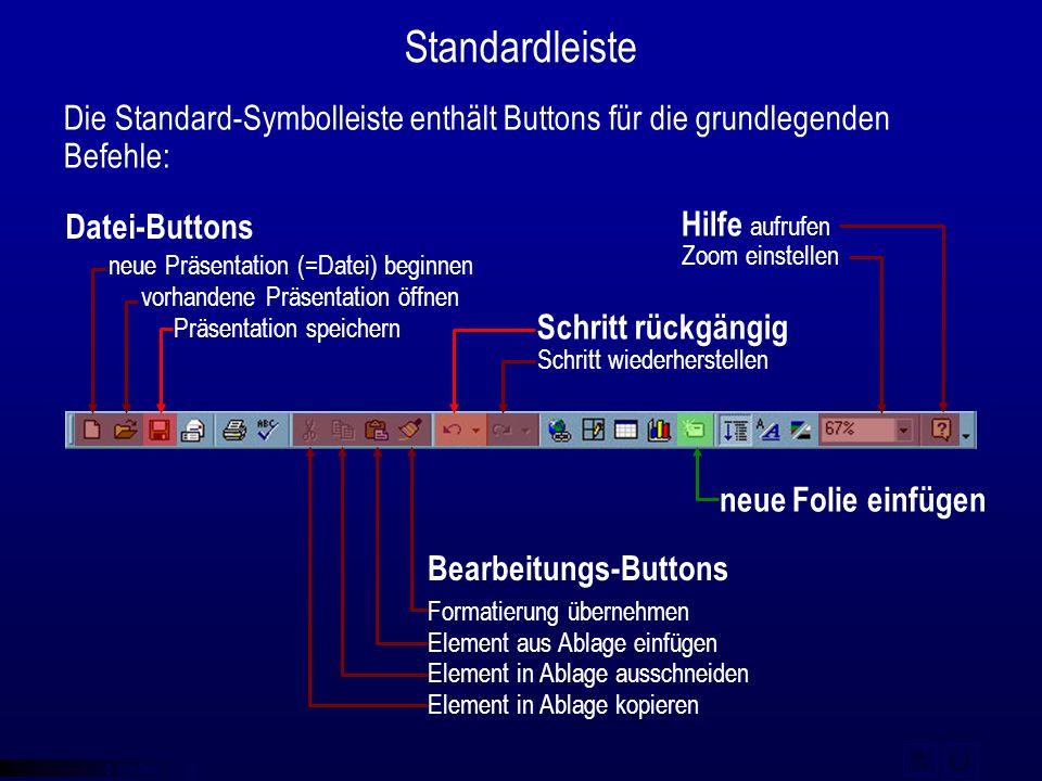 © qba fecit Standardleiste Datei-Buttons Die Standard-Symbolleiste enthält Buttons für die grundlegenden Befehle: neue Präsentation (=Datei) beginnen