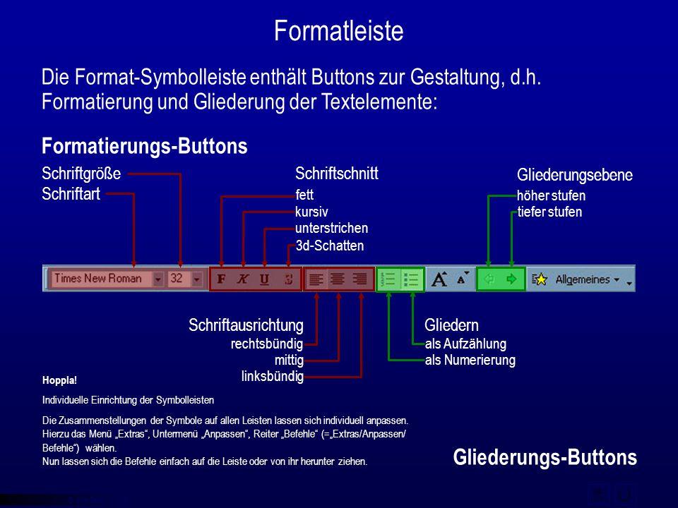 © qba fecit Formatleiste Die Format-Symbolleiste enthält Buttons zur Gestaltung, d.h. Formatierung und Gliederung der Textelemente: Gliederungs-Button