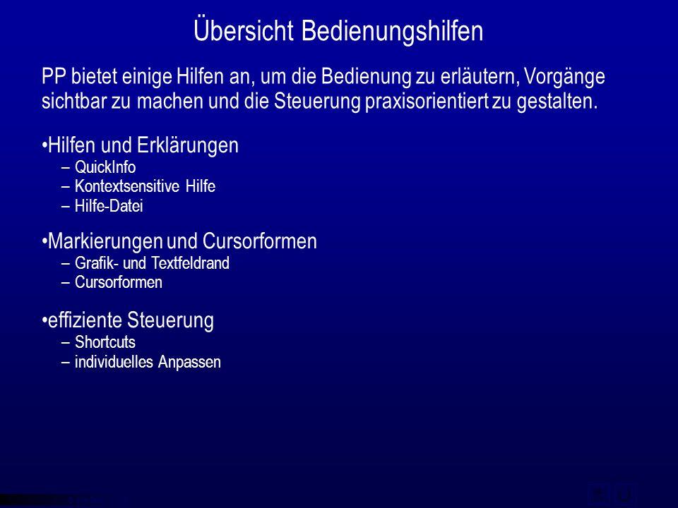 © qba fecit Übersicht Bedienungshilfen Hilfen und Erklärungen –QuickInfo –Kontextsensitive Hilfe –Hilfe-Datei Markierungen und Cursorformen –Grafik- u