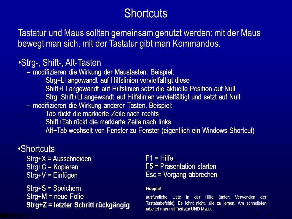 © qba fecit F1 = Hilfe F5 = Präsentation starten Esc = Vorgang abbrechen Shortcuts Tastatur und Maus sollten gemeinsam genutzt werden: mit der Maus be
