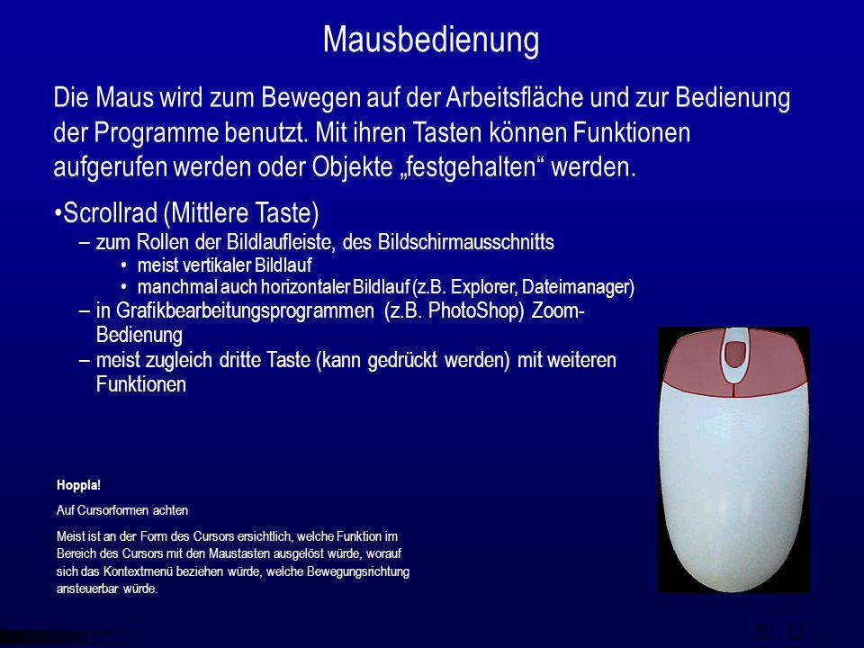 © qba fecit Mausbedienung Die Maus wird zum Bewegen auf der Arbeitsfläche und zur Bedienung der Programme benutzt. Mit ihren Tasten können Funktionen