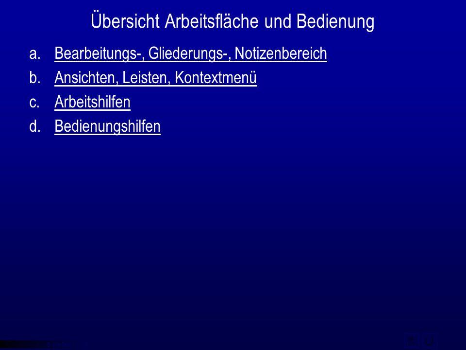 © qba fecit Übersicht Arbeitsfläche und Bedienung a.Bearbeitungs-, Gliederungs-, NotizenbereichBearbeitungs-, Gliederungs-, Notizenbereich b.Ansichten