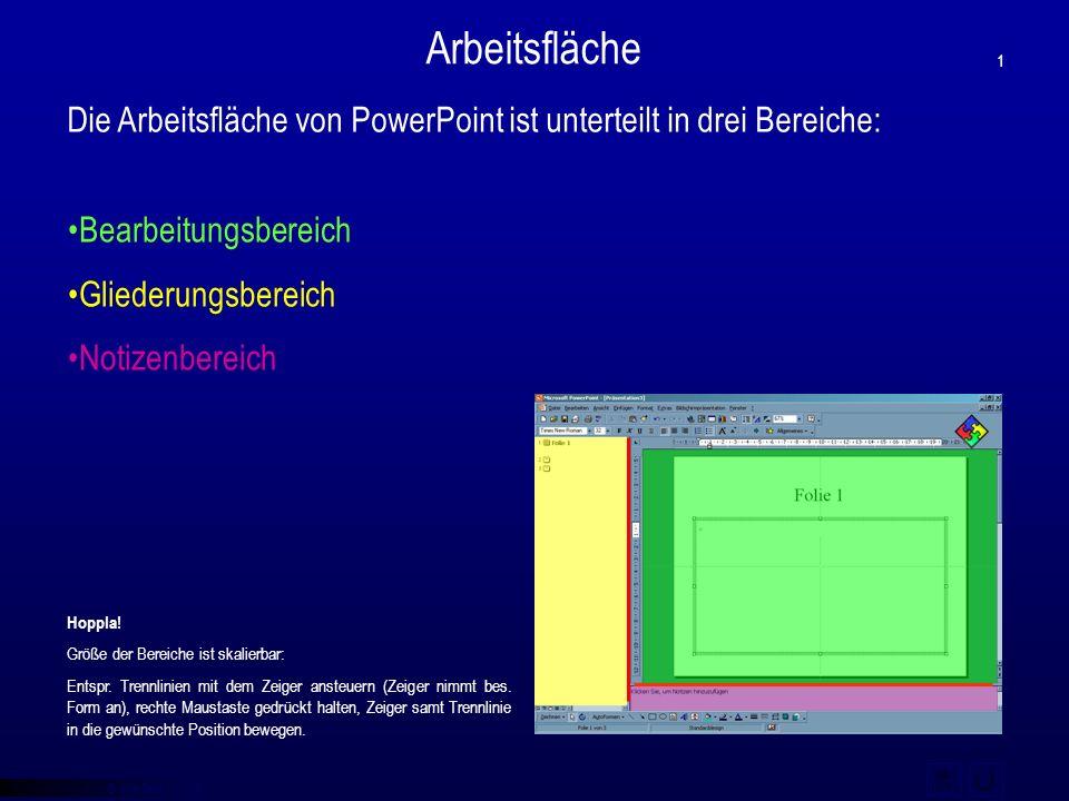 © qba fecit Bearbeitungsbereich Gliederungsbereich Notizenbereich Die Arbeitsfläche von PowerPoint ist unterteilt in drei Bereiche: Arbeitsfläche 1 Ho