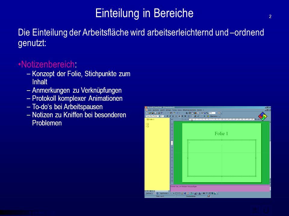 """© qba fecit Bearbeitungsbereich: –""""eigentliche"""" Arbeitsfläche –Erstellung und Bearbeitung von Folieninhalten –Verteilung von Folienobjekten Einteilung"""