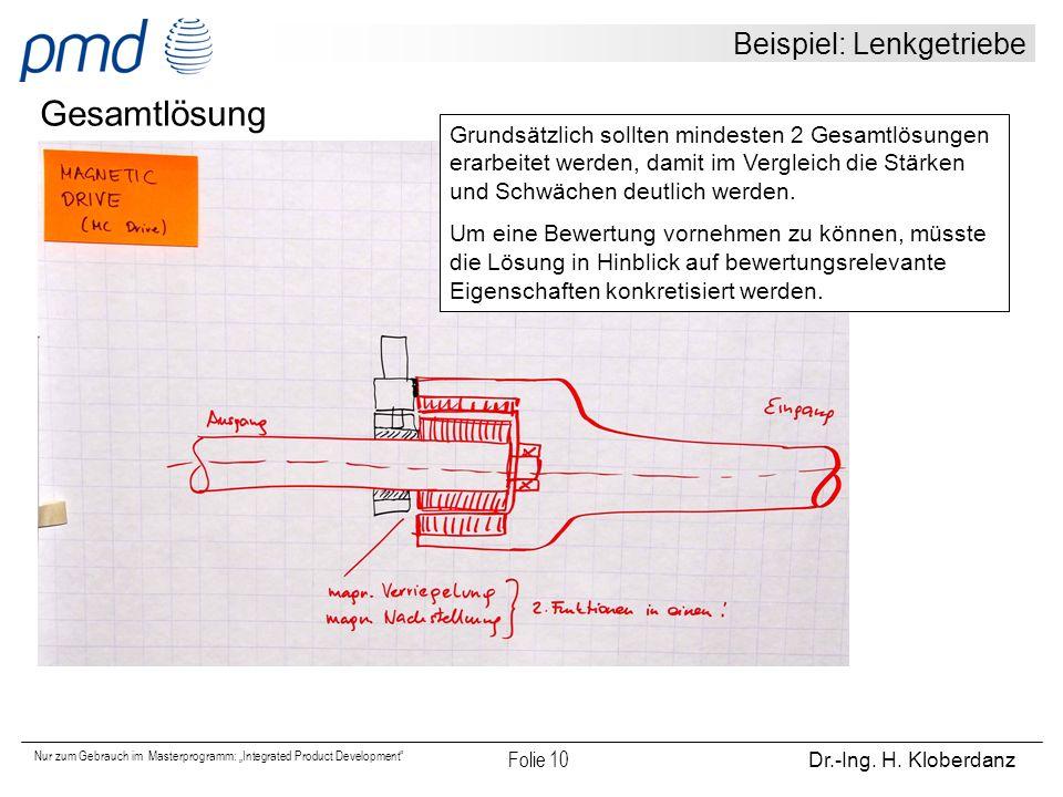 """Nur zum Gebrauch im Masterprogramm: """"Integrated Product Development"""" Folie 10 Dr.-Ing. H. Kloberdanz Beispiel: Lenkgetriebe Gesamtlösung Grundsätzlich"""