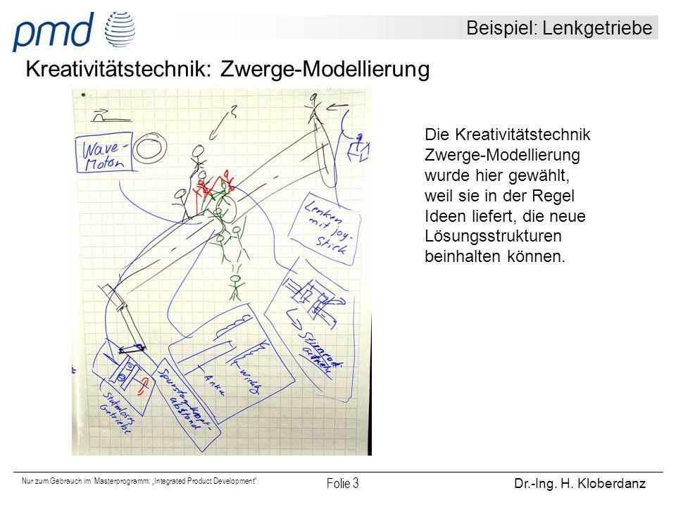 """Nur zum Gebrauch im Masterprogramm: """"Integrated Product Development"""" Folie 3 Dr.-Ing. H. Kloberdanz Beispiel: Lenkgetriebe Kreativitätstechnik: Zwerge"""