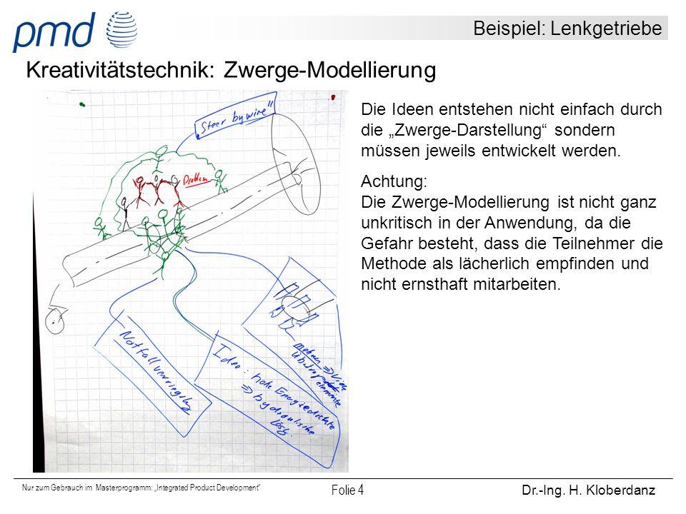 """Nur zum Gebrauch im Masterprogramm: """"Integrated Product Development"""" Folie 4 Dr.-Ing. H. Kloberdanz Beispiel: Lenkgetriebe Kreativitätstechnik: Zwerge"""