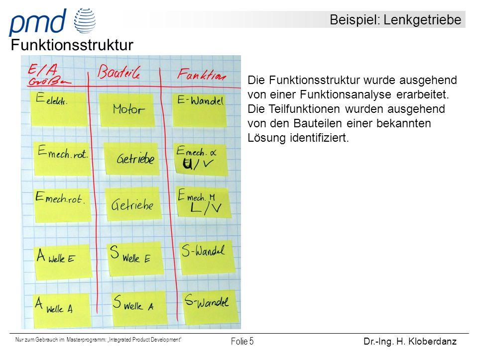 """Nur zum Gebrauch im Masterprogramm: """"Integrated Product Development"""" Folie 5 Dr.-Ing. H. Kloberdanz Beispiel: Lenkgetriebe Funktionsstruktur Die Funkt"""