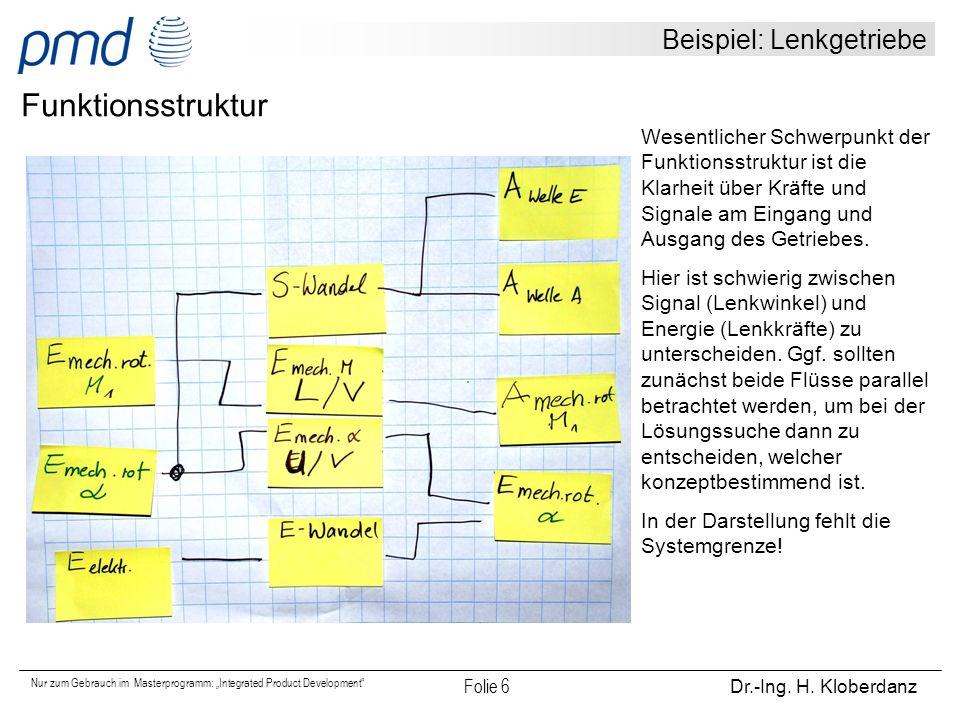 """Nur zum Gebrauch im Masterprogramm: """"Integrated Product Development"""" Folie 6 Dr.-Ing. H. Kloberdanz Beispiel: Lenkgetriebe Funktionsstruktur Wesentlic"""